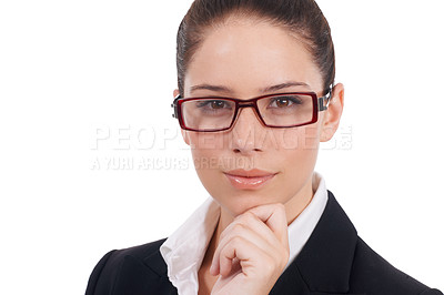 Buy stock photo Closeup portrait of a confident young business woman isolated on white