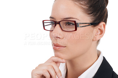 Buy stock photo Closeup shot of a confident young business woman isolated on white