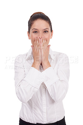 Buy stock photo Studio shot of an attractive young woman  standing with her hands covering her mouth isolated on whte