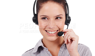 Buy stock photo Shot of a young customer service representative wearing a headset isolated on white