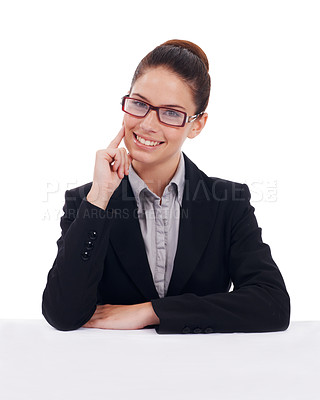 Buy stock photo Studio portrait of a young businesswoman wearing glasses isolated on white