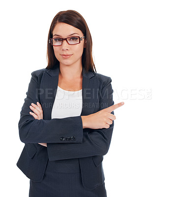 Buy stock photo Studio portrait of a confident-looking young business woman pointing left isolated on white