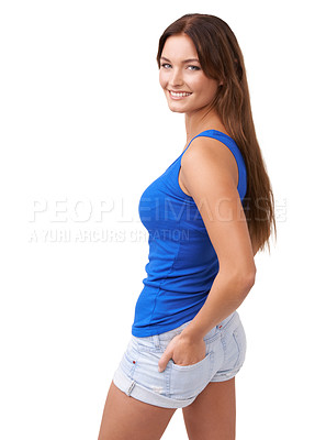 Buy stock photo Rearview shot of an attractive young woman isolated on white