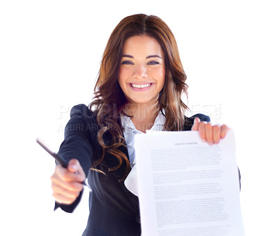 Buy stock photo Portrait of an attractive young lawyer holding up some documents for you to sign