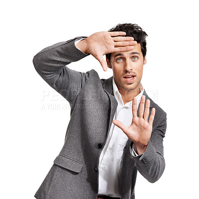 Buy stock photo Portrait of a handsome young businessman framing you with his hands
