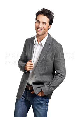 Buy stock photo Portrait of a handsome young man standing with his hand in his pocket