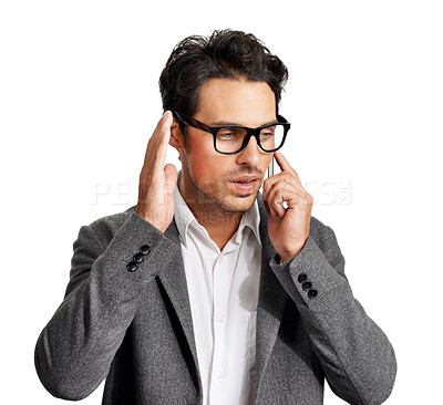 Buy stock photo A handsome young man talking on his mobile