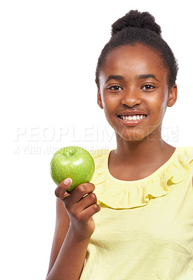Buy stock photo Studio portrait of a young african american girl holding an apple isolated on white