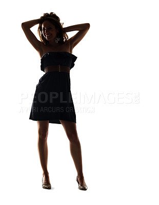 Buy stock photo Portrait of an attractive young female posing against white background