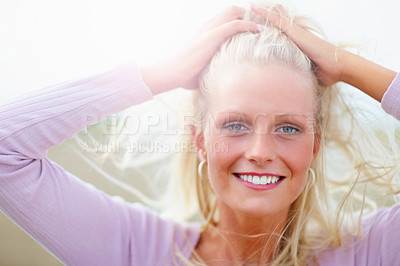 Buy stock photo Portrait of a pretty blond woman at the country side