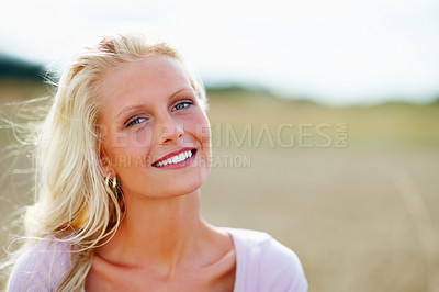 Buy stock photo Pretty young female smiling, farm view in the background