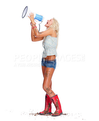 Buy stock photo Full length portrait of a sexy young babe covered in muck screaming into a megaphone