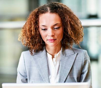 Buy stock photo Portrait of a young satisfied business woman at work