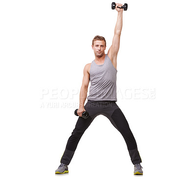 Buy stock photo A fit young man working out with dumbbells while isolated on a white background