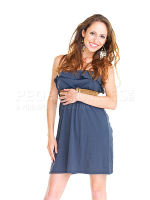 Buy stock photo Portriat of a lovely young female  posing against white background