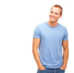 Cool young man smiling on white background