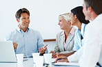 Happy confident people planning a business strategy