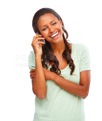 Buy stock photo Pretty young African American speaking on the cellphone on white
