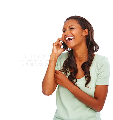 Buy stock photo Cute African American woman enjoying a conversation on white background
