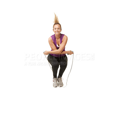 Buy stock photo Portrait of an attractive young woman skipping