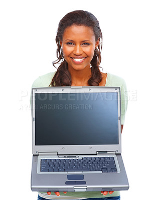 Buy stock photo Portrait of an African American sales woman displaying a laptop over white background