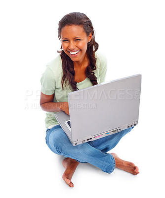 Buy stock photo African American female using a laptop isolated on white background