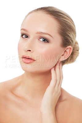 Buy stock photo A gorgeous young woman posing on a white background - Skincare & Beauty