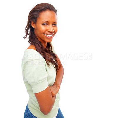 Buy stock photo Young African American female with her hands folded over white