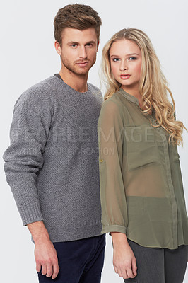 Buy stock photo Studio portrait of an attractive young couple