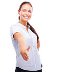 Happy young female extending her hand for a shake