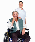 Happy nurse with a smiling senior man on wheelchair