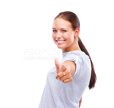 Buy stock photo Portrait of a happy woman pointing towards camera isolated on white