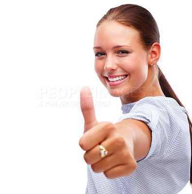 Buy stock photo Happy pretty female showing a success sign over white background