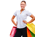 Cute young female posing with shopping bags on white