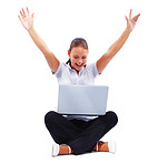 Happy woman working on a laptop on white, hands raised