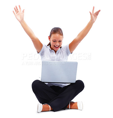 Buy stock photo Achievement - Happy young female with hand raised using a laptop over white
