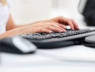 Buy stock photo Closeup of a business woman's hand typing on the keyboard