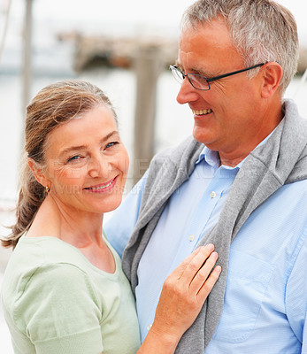 Buy stock photo Portrait of a happy relaxed old couple on sailboat