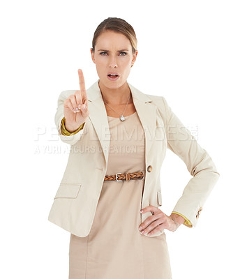 Buy stock photo A businesswoman holding up her finger in a reprimanding way