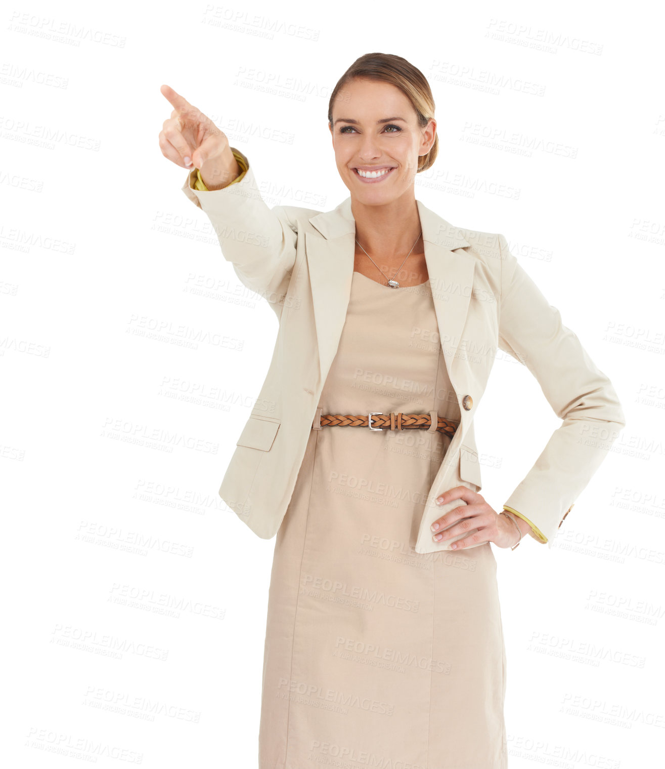 Buy stock photo An attractive businesswoman pointing into the distance