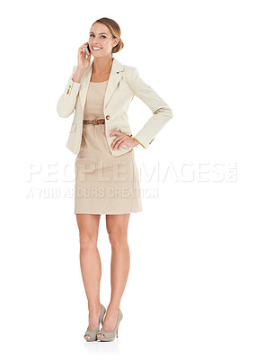 Buy stock photo A beautiful businesswoman speaking on her cellphone