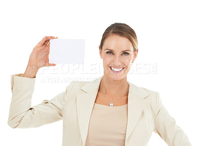 Buy stock photo An attractive businesswoman holding a blank card
