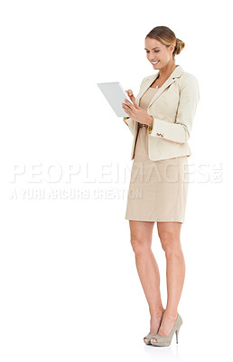Buy stock photo A businesswoman holding a digital tablet - isolated