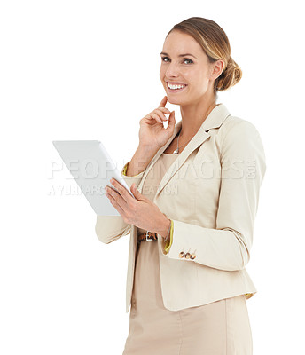 Buy stock photo A businesswoman holding a digital tablet and touching her chin