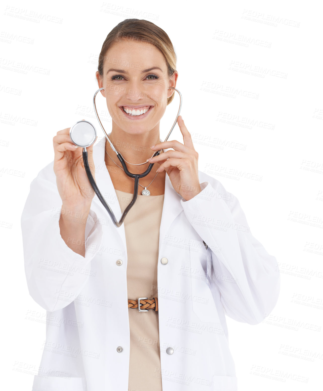 Buy stock photo A beautiful female doctor holding up a stethoscope to the camera