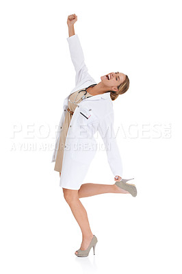 Buy stock photo A happy doctor reaching into the air against a white background