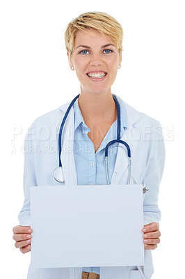 Buy stock photo A young female doctor holding up a blank placard