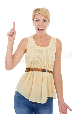 Buy stock photo A pretty young woman coming up with an idea while isolated on a white background
