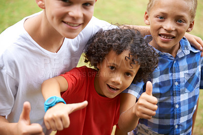 Buy stock photo Portrait of three young kids standing outside