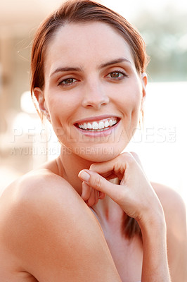 Buy stock photo Attractive young woman smiling confidently